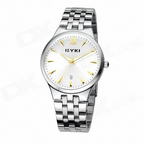 Affaires ronde EYKI 8615 hommes Dial Steel Band Wrist Watch w / Calendrier - blanc + argent (1 x 10 #)
