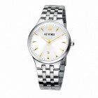 EYKI 8615 Men's Business Round Dial Steel Band Wrist Watch w/ Calendar - White + Silver (1 x 10#)