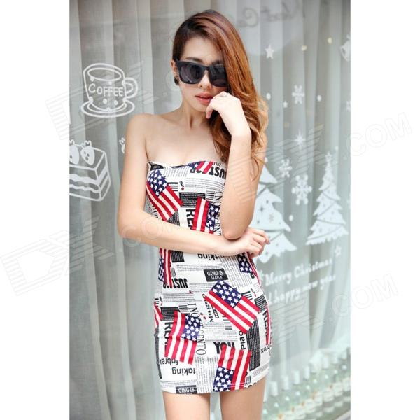 YLY-DXH719-8742 Newspaper Pattern Sexy Wrapped Chest Dress - White + Red + Multi-Colored (Size L)