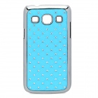 Rhombus Style Rhinestone Protective ABS Back Case for Samsung G3502 - Light Blue + Silver