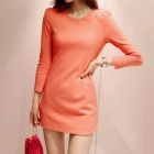 Woolen One-piece Dress - Orange Red (L)