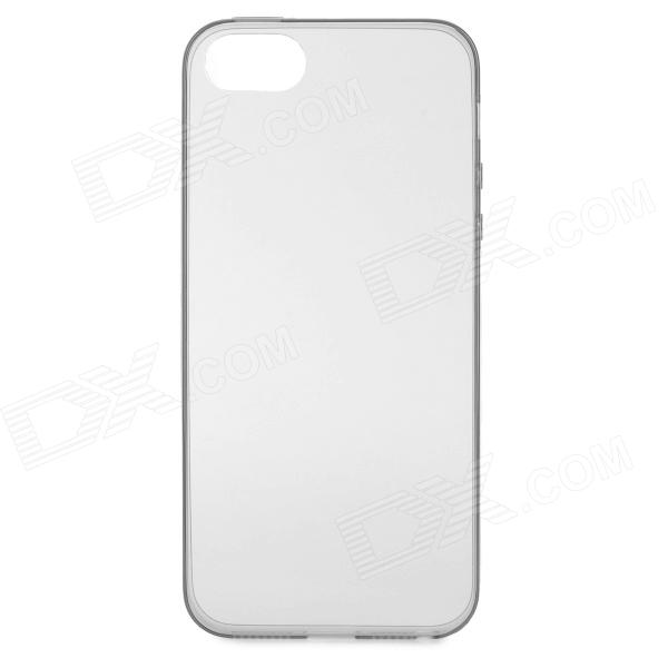 S-What 0.3mm Thin Protective TPU Back Case for IPHONE 5 / 5S -  Grey + Transparent
