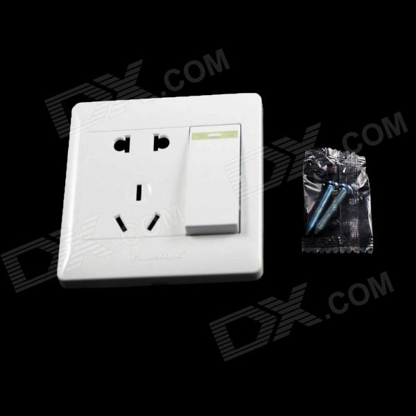 Fluorescence 2-Power Socket Wall Mount Plate w/ One Gang Switch - White (250V / 10A) white square wall mounted three phase four wire outlet socket plate 380vac 25a