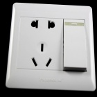 Fluorescens 2-Power Socket Wall Mount Plate m / En Gang Switch - Hvit (250V / 10A)