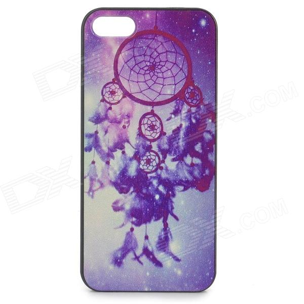 Flower Pattern PC Protective Back Case for IPONE 5 / 5S - Black + Colorful dots pattern flexible tpu case for iphone 7 plus 5 5 inch purple