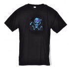 Skull Head Pattern Cotton T-Shirt - Black (Size L / 2 x AAA, Not Included)