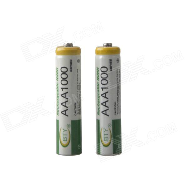 BTY Rechargeable 1.2V 200mAh Ni-MH AAA Batteries - Green + White (2 PCS) 8pcs pkcell battery aaa pre charged nimh 1 2v 1200mah ni mh 3a rechargeable batteries up to 1000mah capacity cycle 1200times