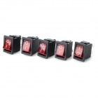 14020902 DIY Red Light Rocker Switch - Preto + Vermelho (5 PCS)