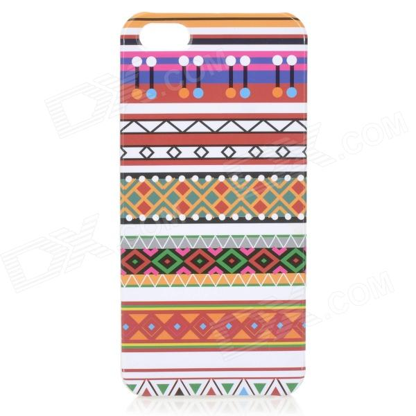 Slim Tribal Style Protective Plastic Back Case for IPHONE 5 / 5S - White + Red + Multi-Colored relief tribal ethnic style protective plastic back case for iphone 4 blue white red