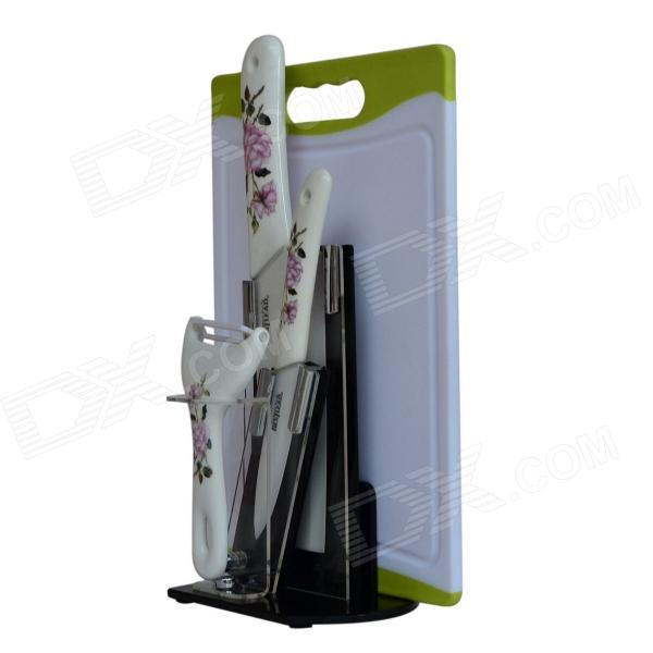 BESTLEAD 4 Ceramics knife + 6.5 Kitchen Knife + Peeler + Board + Holder Set - White + Pink bestlead 4 6 ceramics knife peeler set blue white