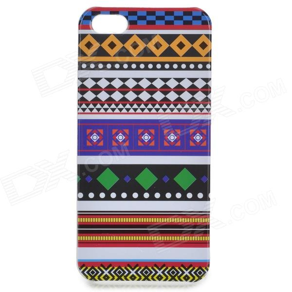 Slim Tribal Style Plastic Protective Back Case for IPHONE 5 / 5S - White + Blue + Multi-Colored relief tribal ethnic style protective plastic back case for iphone 4 blue white red
