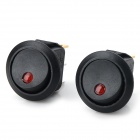14020904 2-mode Rocker Switch w/ Red Indicator - Black + Red (2 PCS)