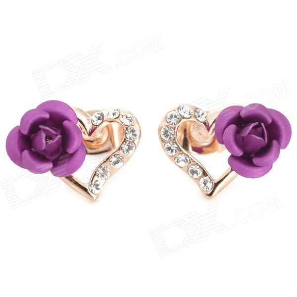 YITAILIAN 540036 Heart Rose Shaped Earrings for Women - Golden + Purple + Multi-Colored (Pair)Earrings<br>Color Golden + Purple + Multi-Colored Brand YITAILIAN Model 540036 Quantity 2 Piece Shade Of Color Gold Material Gold plating Gender Women Suitable for Adults Length 1.7 cm Width 1.2 cm Packing List 2 x Earrings<br>