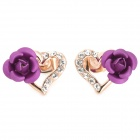 YITAILIAN 540036 Heart Rose Shaped Earrings for Women - Golden + Purple + Multi-Colored (Pair)