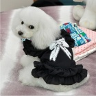 Thchi PT10 Lovely Chiffon Skirt Pet Clothes w/ Pearl - Black (Size-L)