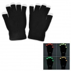 3-Color 3-LED Light Show Gloves - Black + White