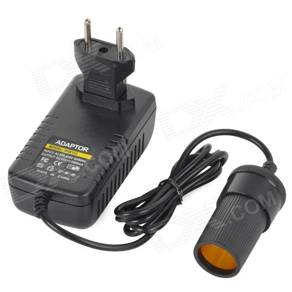 AC 100~240V to DC 12V/2000mA US-Plug Car Cigarette Power Adapter + EU-Plug to US-Plug Adapter ac power adapter for xbox 360 slim eu plug ac 100 240v