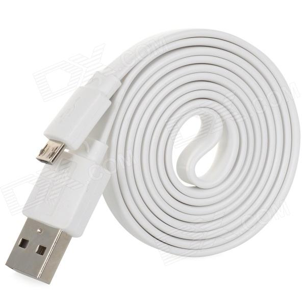 Green Connection USB to Micro USB Flat Charging/Data Cable for Samsung / HTC - White (100cm) 103b universal usb to micro usb data charging cable for samsung htc more deep pink 100cm