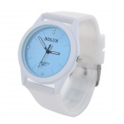 Women' s Analog Quartz Zinc Alloy Casing Silicone Wrietband Wrist Watch - White + Blue