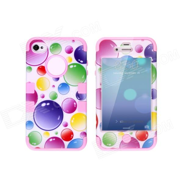 CM04 Colorful Bubble Pattern Protective Silicone Case for IPHONE 4 / 4S - White + Pink protective silicone case for nds lite translucent white