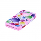CM04 Colorful Bubble Pattern Protective Silicone Case for IPHONE 4 / 4S - White + Pink