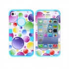 CM04 Colorful Bubble Pattern Protective Silicone Case for IPHONE 4 / 4S - White + Blue