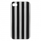 Stylish Protective Stripes Style Aluminium Alloy Back Case for IPHONE 4 / 4S - Black + Silver