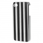 Beskyttende stripete stilfullt stil aluminiumslegering bakre Case for IPHONE 4 / 4S - Black + sølv