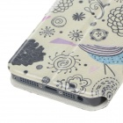 Fashion Flowers and Birds Style PU Leather Protective Case for IPHONE 5 - Beige + Black