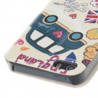 Fashion Car Pattern PU Leather Protective Case for IPHONE 5 - Beige + Red + Multicolor