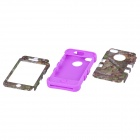 CM0011 Tree Branch Pattern Protective Silicone Case for IPHONE 4 / 4S - Green + Purple
