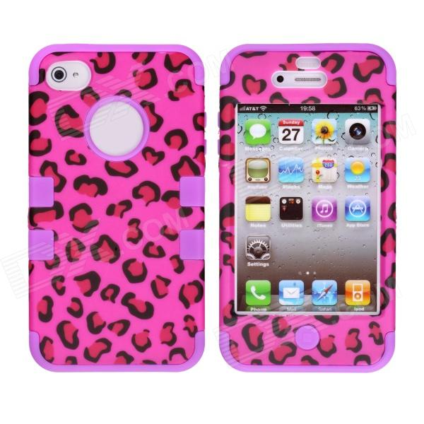 CM001 Leopard Style Protective Silicone Case for IPHONE 4 / 4S - Black + Purple stylish piano style soft silicone case for iphone 4 4s purple