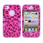 CM001 Leopard Style Protective Silicone Case for IPHONE 4 / 4S - Black + Purple