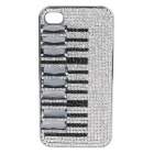 Stylish Piano Pattern Shiny Powder Diamond Protective Plastic Back Case for IPHONE 4 / 4S - Silver