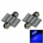 Festoon 31mm 1.6W 130lm 16 x SMD 1210 LED Blue Light Car Reading / Roof / Dome Lamp - (12V / 2 PCS)
