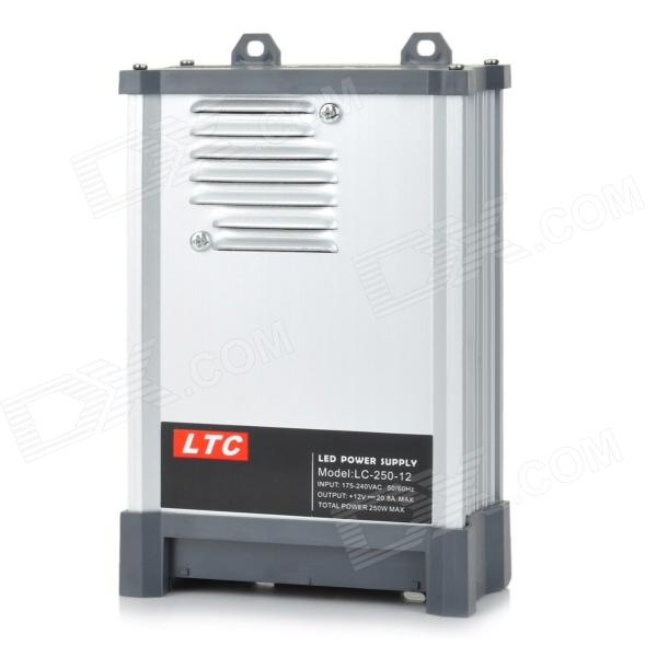 LC-12-250W 20.8A Rainproof Switching Power Supply - Silvery Grey (175~240V) ltc lc 12 250w energy efficient rain proof switching led power supply silver black 175 240v