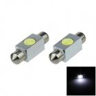 Festoon 36mm 1W 100lm 6500K 1-COB LED White Car Reading Light / Roof Lamp / Dome Bulb (12V / 2 PCS)