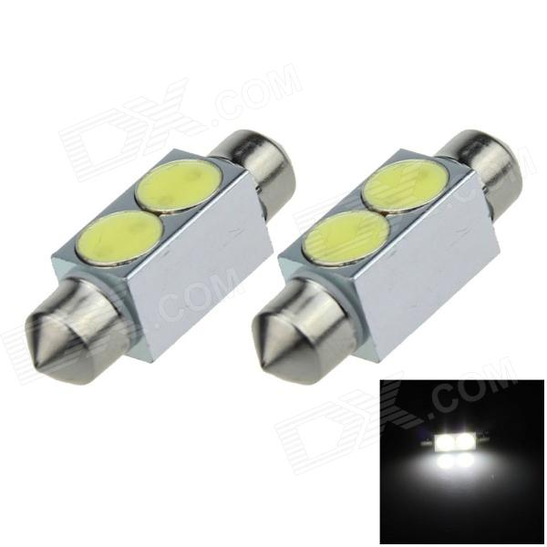 Festoon 36mm 2W 200lm 6500K 2-COB LED White Car Reading Light / Roof Lamp / Dome Bulb (12V / 2 PCS) g4 4w 380lm 6500k ac 12v led cob car bulb cabinet dome light white light