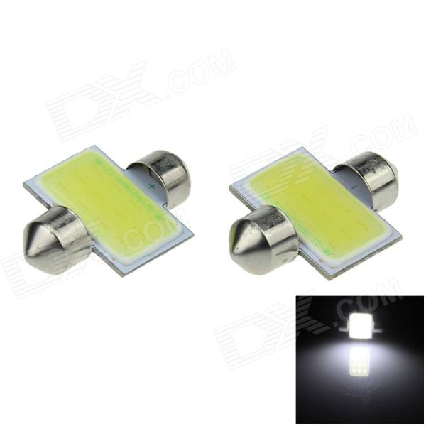 Festoon 31mm 2W 200lm 12 Chips COB LED White Car Reading Light / Roof Lamp / Dome Bulb (12V / 2 PCS) g4 4w 380lm 6500k ac 12v led cob car bulb cabinet dome light white light