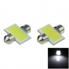 Festoon 31mm 2W 200lm 12 Chips COB LED White Car Reading Light / Roof Lamp / Dome Bulb (12V / 2 PCS)