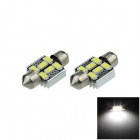 Canbus Error Free Festoon 31mm 2W 200lm 6-SMD 5630 LED White Car Roof Light Lamp (12V / 2 PCS)