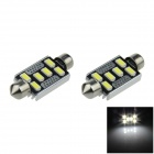 Festoon 41mm 2W 200lm 6500K 6-SMD 5630 LED White Car Roof Light Lamp w/ Cooler (12V / 2 PCS)