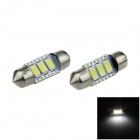 Canbus Error Free Festoon 36mm 1W 100lm 3-SMD 5630 LED White Car Dome Light Lamp (12V / 2 PCS)