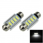 Festoon 41mm 1.2W 120lm 6500K 4-5630 SMD LED White Car Dome Lamps - Silver (12V / 2 PCS)