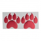 Creative Two Paw Pattern Plastic Car Decoration Sticker - Red