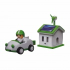 Solar Rechargeable Green Life House and Car Set