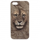 C100001 Animal Series Lion Style Protective Plastic Back Case for IPHONE 5 / 5S - Brownish Yellow