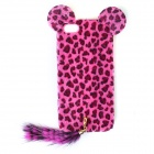 New Edition Leopard Print Pattern Protective Plastic Case w/ Tail for IPHONE 5 - Black + Deep Pink