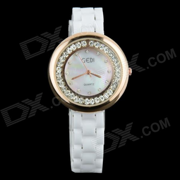 Women's Crystal Round Dial Ceramic Band Quartz Wrist Watch - White + Rose Gold (1 x 377)
