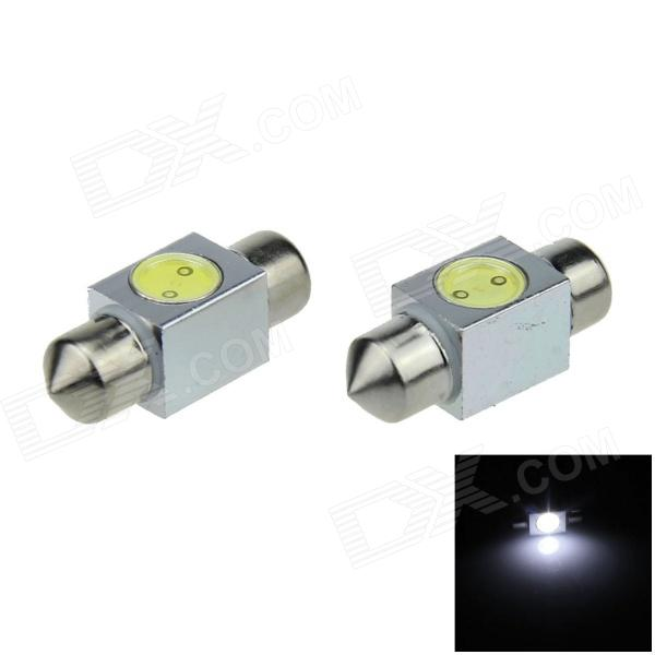 Festoon 31 milímetros 1W 100lm 1-COB LED Branco Car Light Reading / Telhado Lamp / Dome Bulb - (DC 12V / 2 PCS)